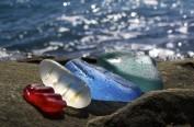 """俄海岸一酒瓶回收场自然造就""""玻璃海岸""""胜景(组图)"""