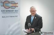 蒂勒森波恩G20外长会首秀 一中原则下首见中国外长