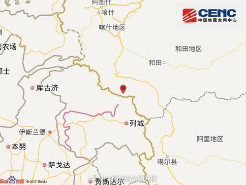 新疆喀什叶城县发生5.2级地震震源深度87千米