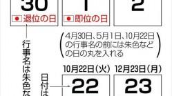 日本天皇將于2019年退位 相關機構公布當年日歷印刷方案