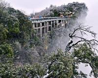 장가계 톈먼산의 첫눈, 그림과 같은 멋진 설경